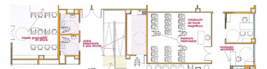 Plano parcial de un edificio con anotaciones relativas a la accesibilidad de sus elementos